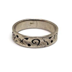 Sterling Silver Symbols Band Ring